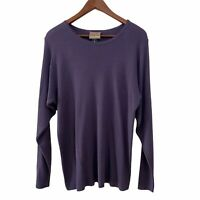 Eileen Fisher Womens Pullover Sweater Purple Ribbed Long Sleeve Sz M