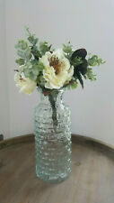 Ivory Cream Rose Fake Flower Greenery Foliage Bundle Bunch with Tall Glass Vase