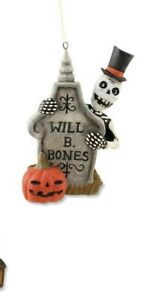 GG2083 Bethany Lowe  Skeleton Ghost Behind Grave Halloween Ornament Graveyard