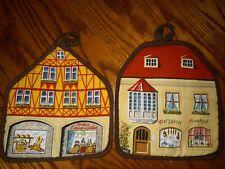 New listing Pr Vintage Souvenir German Bakery Deli Shop Scene Quilted Pot Holders Retro 70's