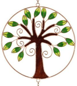 Large Stained Glass Tree of Life Windchimes - Radiant Sun Catcher Wind Chime