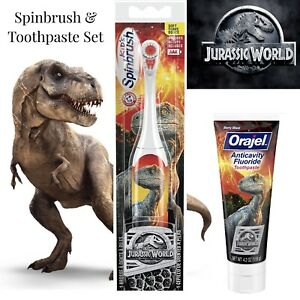 Spinbrush Jurassic World Battery Powered Soft Tooth Brush & Toothpaste Lot WOW !