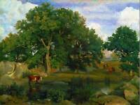 PAINTING LANDSCAPE RURAL COROT FONTAINEBLEAU FOREST POSTER ART PRINT BB12810B