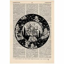 Mountain & moonlight circles Dictionary Print OOAK, Mystic, Art, Unique, Gift,