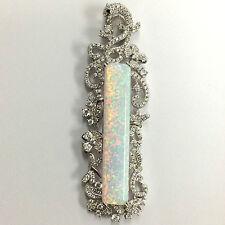 GRANDE Stile Art Deco Bianco Gilson Opal Pavone Ciondolo 925 Argento Sterling