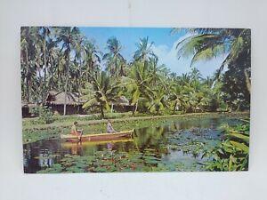 Vintage Coco Palms Polynesian Resort Hotel Kapa'a Hawaii Postcard Boat Lagoon