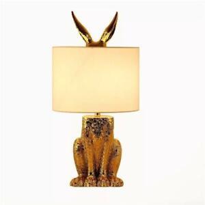 New Gold Rabbit Table Lamp Led Desk Lights Bedroom Bedside Lighting Fixtures US