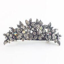 USA BARRETTE Rhinestone Crystal Hairpin Claw Clip Metal Vintage Elegant Silver 2