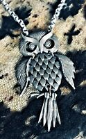 🤎 Vintage Spirited 70's Wise Old Owl Moving Bohemian Viva Life Pendant Necklace