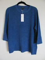 Eileen Fisher Crew Neck Top- Organic Linen Cotton Slub-Neptune-Size 1X -NWT $198