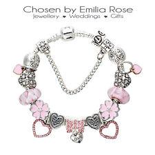 Silver & Pink Crystal Heart Charm Bracelet Rhinestone Charms Bangle Jewelry Gift