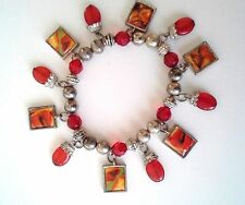 Retro Bracelet Red & Silver Plated Beads Photos of Lips Charms Stretch