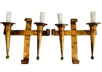 "✨18"" Pair Gilt Gold Antique Spanish Revival Wall Sconces Light Fixtures Gothic"