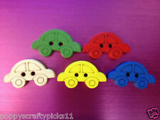20 SMALL WOODEN CAR BUTTONS FATHER'S DAY CARD MAKING CRAFT SEWING EMBELLISHMENTS