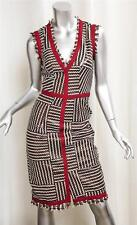 OSCAR DE LA RENTA Womens Brown Striped Leather V-Neck Sleeveless Sheath Dress 0