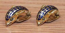 18K (15.3G) Gold & Blue Designed Dolphin Fish Fashion ClipOn Earrings (A 76 750)