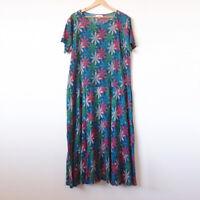 VICTORIA HILL Blue Green Floral 100% Cotton Crepe Tiered Midi Dress Size 22 Plus