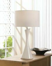 SLEEK MODERN ARTISTIC WHITE CERAMIC BASE W/FABRIC SHADE TABLE LAMP~10018022