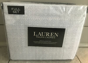 Ralph Lauren Full XDP 4p Sheet Set Ikat Medallion Pale Blue & White Print NIP
