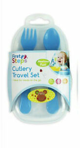 Baby Plastic Monkey Fork Spoon Cutlery Travel Set First Steps 6months+ Animals