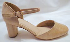 Nude / Beige Closed Toe Ankle Strap Mid Heel Shoes 6eee with Memory Foam Insert
