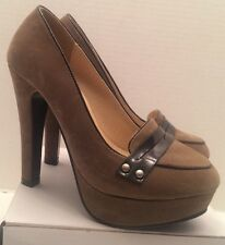 "Tan Color Sued With Black Trim Women  Size 6 Givona Jolie shoes 4 1/2"" Heels."