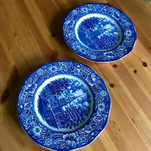 """Set of 2 / 9.3/4"""" Liberty Blue Staffordshire  Independence Hall Dinner Plates"""