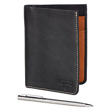 Stanley Tools - Black Leather Travel Wallet with Pen in Presentation Gift Box