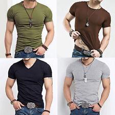 Hommes Haut Elastique T-shirt Col En V Manches Courtes Chemise Chemisier Tops