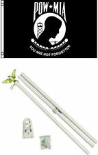 2x3 2'x3' Pow Mia Powmia Flag White Pole Kit Set