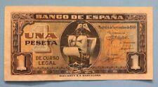 1940 SPAIN 1 PESETA SANTA MARIA BARCO SPANISH BANKNOTE