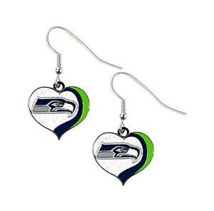 Seattle SEAHAWKS Swirl Heart Dangle Earrings