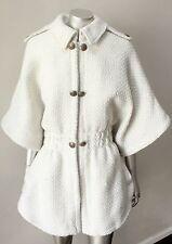 Military Tweed Contoured Cape Bell Sleeve White Jacket Coat Plus Size 18 20 XXL
