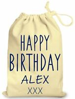 Personalised Birthday Party Bag Cotton Named Happy Birthday Luxury Gift Bags