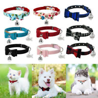 Cute Bowtie Personalized Dog Collars with Bell Cat Kitten Name Collars XS S M