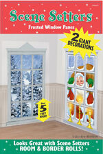 2 5ft Frosted Window Christmas Scene Setter Wall Decorations Santa Winter Add On