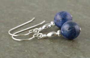 Denim Blue Sodalite Gemstone & Sterling Silver Drop Earrings + Gift Box