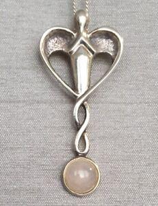 Vintage Celtic Art Nouveau Moonstone 925 Silver Pendant & Chain Gift Box