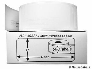 """DYMO 30336 Direct Thermal Multipurpose Labels (1"""" x 2-1/8"""") - (1) Roll of 500"""