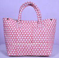 Indian Ethnic Canvas Polka Dot Print Fashion Tote Shoulder Bag Lovely Pink Bag