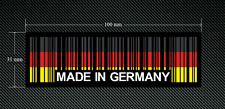 2 x MADE IN GERMANY BAR CODE Stickers/Decals with a Black Background - EURO  DUB