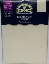"Dmc 20x30"" Extra Large Cross Stitch Needlework Fabric 18 Count Aida Blanc Ecru"