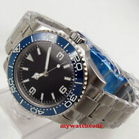 40mm sterile black dial blue cermaic Bezel sapphire glass automatic mens watch