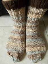 Hand knitted wool blend socks, gradient gray/beige/brown with dark brown trim