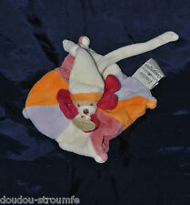 Ours DOUDOU ET COMPAGNIE Carré Plat Orange Rose Blanc Fushia PM Attache Tetine