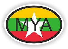 Burma Myanmar COUNTRY CODE OVAL FLAG STICKER bumper decal car bike tablet