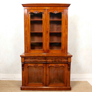 Antique Glazed Bookcase Mahogany 19th Century Victorian Library Display Cabinet