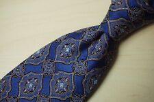Ermenegildo Zegna Current Blue Silver Paisley 100% Silk Tie Made in Italy