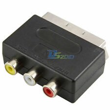 H-Quality SCART Male to Triple 3 RCA Female Jack AV Adaptor Converter For TV DVD