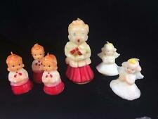Gurley 1950s Novelty Wax Candle Christmas Lot 6 Choir Singing Angels Unused Vtg